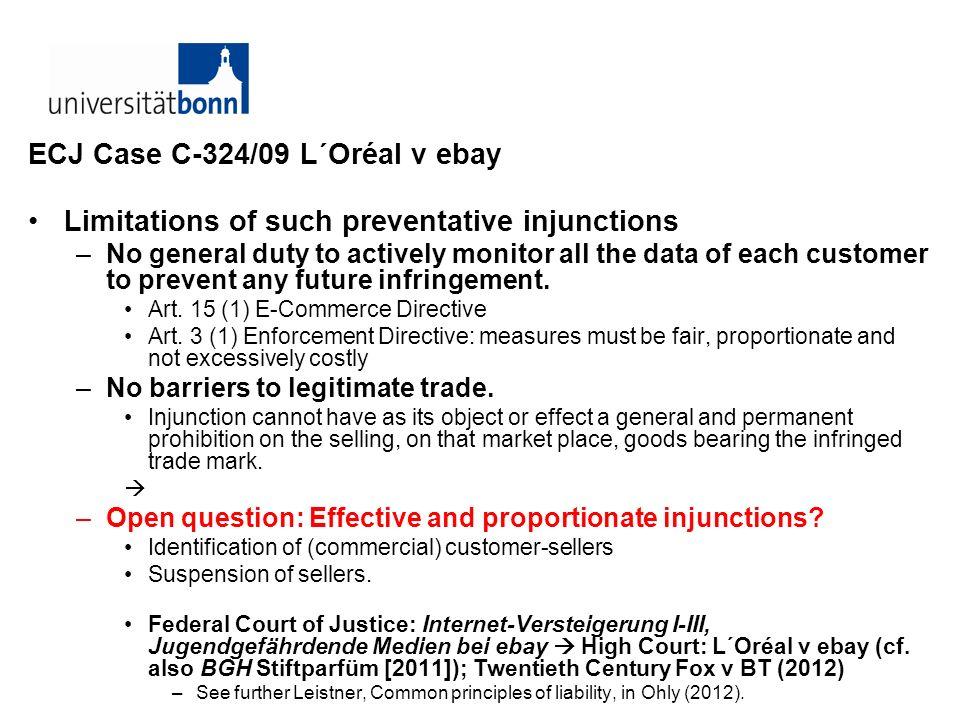 ECJ Case C-324/09 L´Oréal v ebay