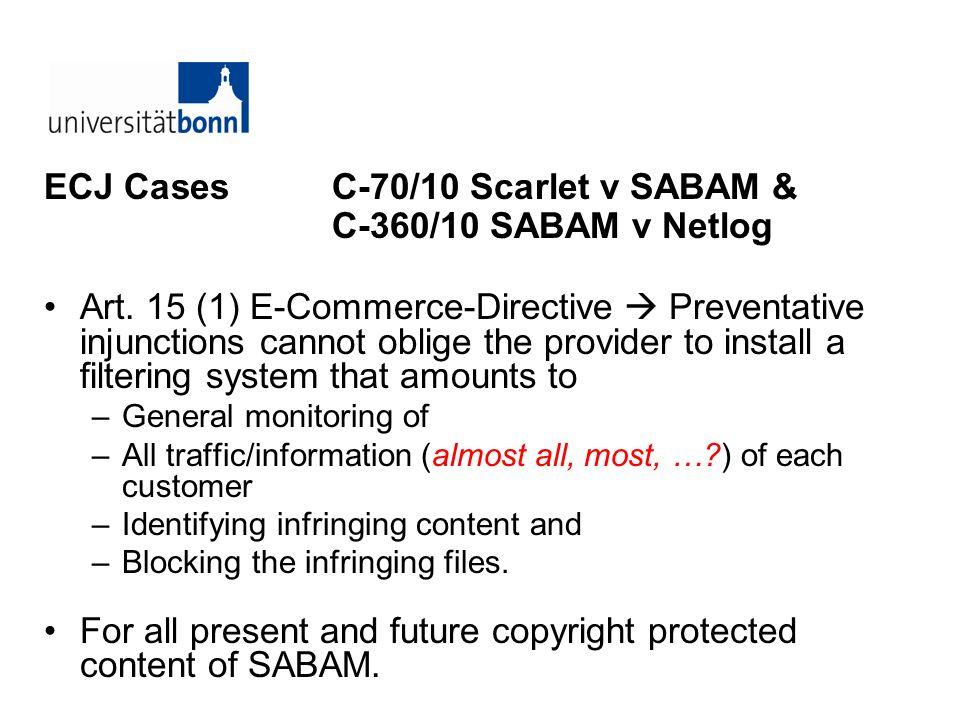ECJ Cases C-70/10 Scarlet v SABAM & C-360/10 SABAM v Netlog
