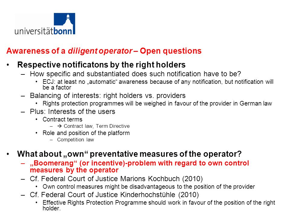 Awareness of a diligent operator – Open questions