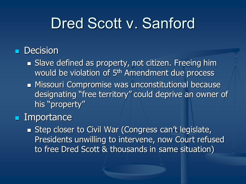 the violation of scotts right to equal citizenship rights and protection in the dred scott v stanfor Dred scott v sandford, 60 us (19  she continued to lease out the scotts as hired slaves in 1846, scott attempted to purchase his and his  dred scott v.