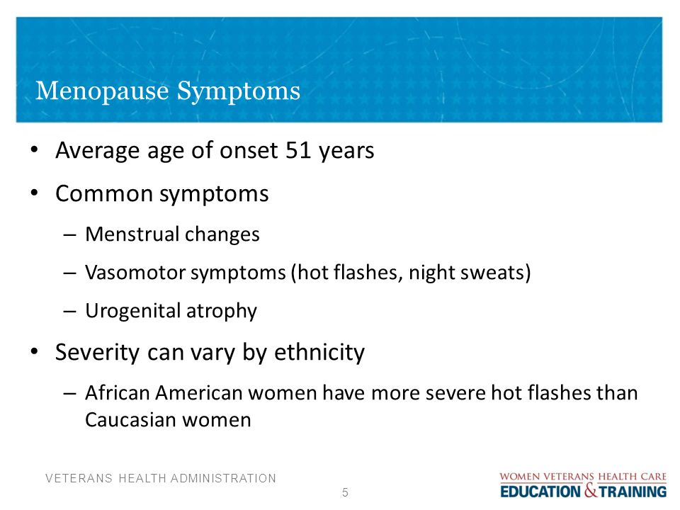 what are symptoms of menopause onset
