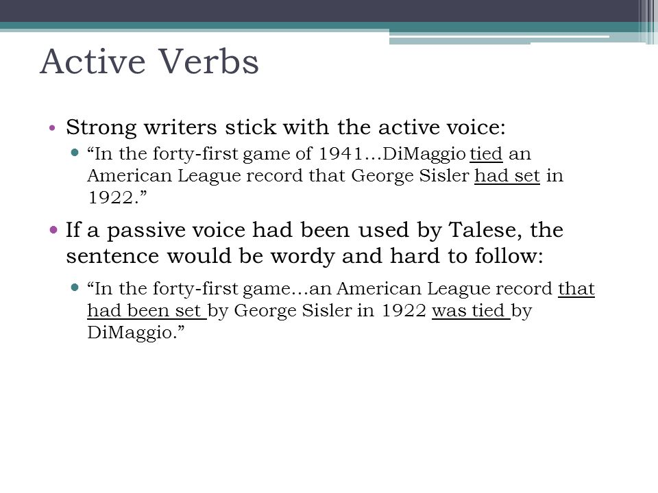 10 Active Verbs ...  Active Verbs