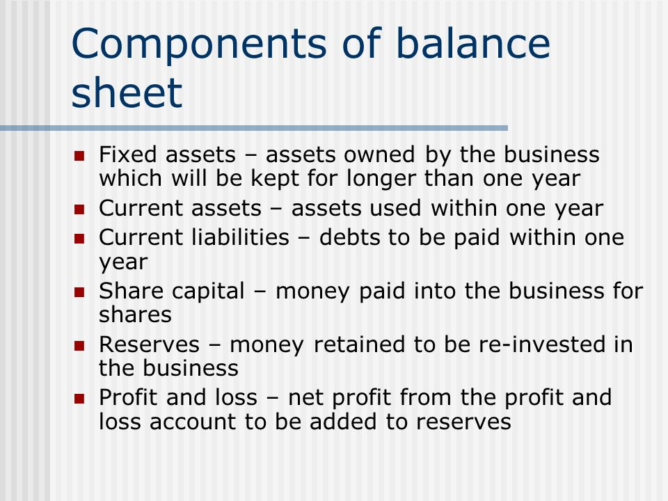 Awesome Components Of Balance Sheet  Components Of Balance Sheet