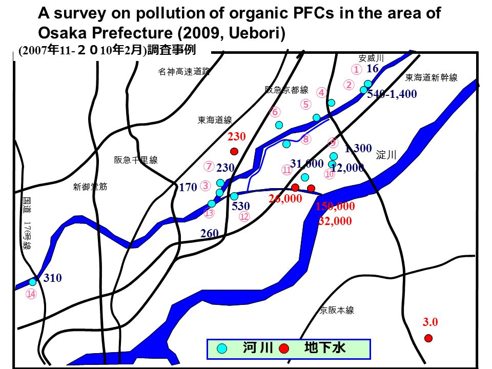 A survey on pollution of organic PFCs in the area of Osaka Prefecture (2009, Uebori)