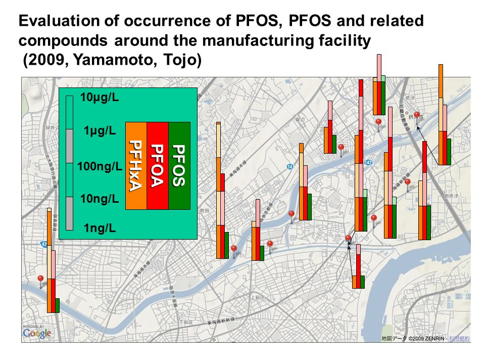 Evaluation of occurrence of PFOS, PFOS and related compounds around the manufacturing facility (2009, Yamamoto, Tojo)