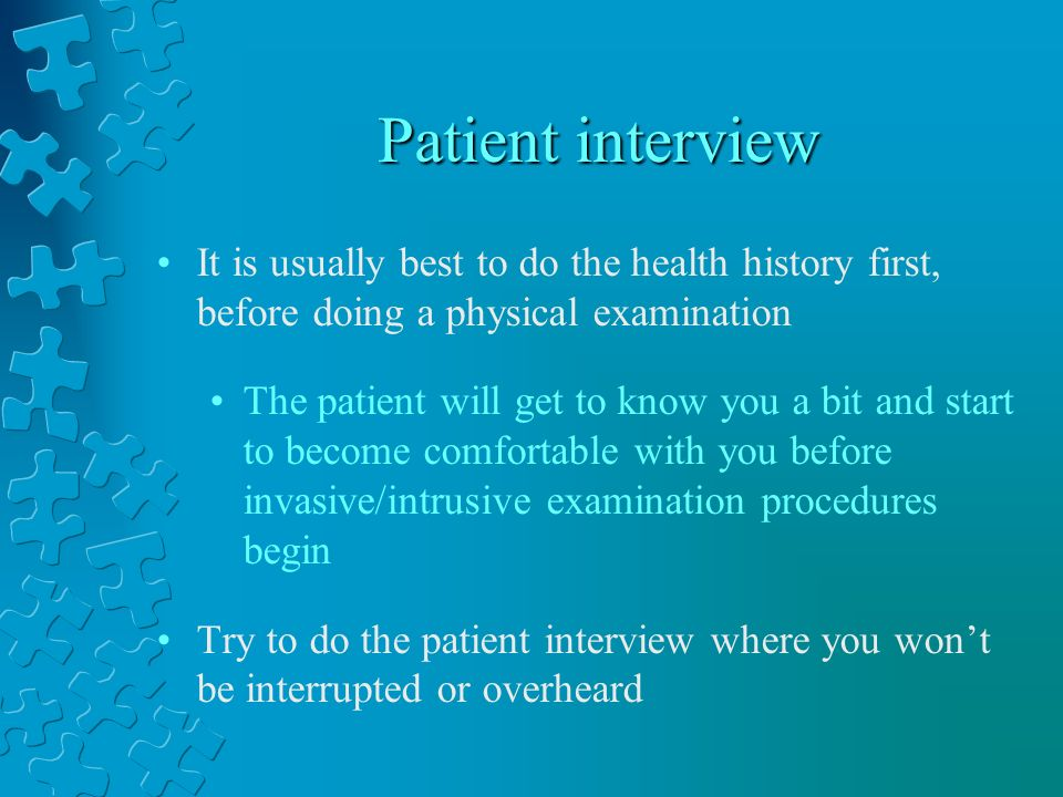 critique of health history interview Many challenges arise from a lack of patient's understanding and/or an interview query when these two areas are consistently addressed, a more precise, complete health history will result due to various reasons, such as time constraints, two critical steps in the health history assessment process are.