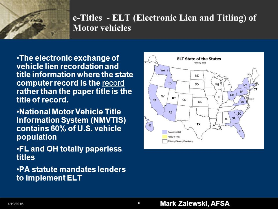 Fstc bank technology and operations committee ppt video for National motor vehicle title information system