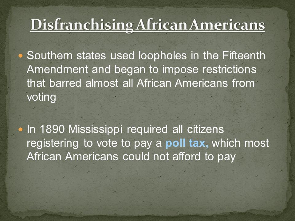 Disfranchising African Americans