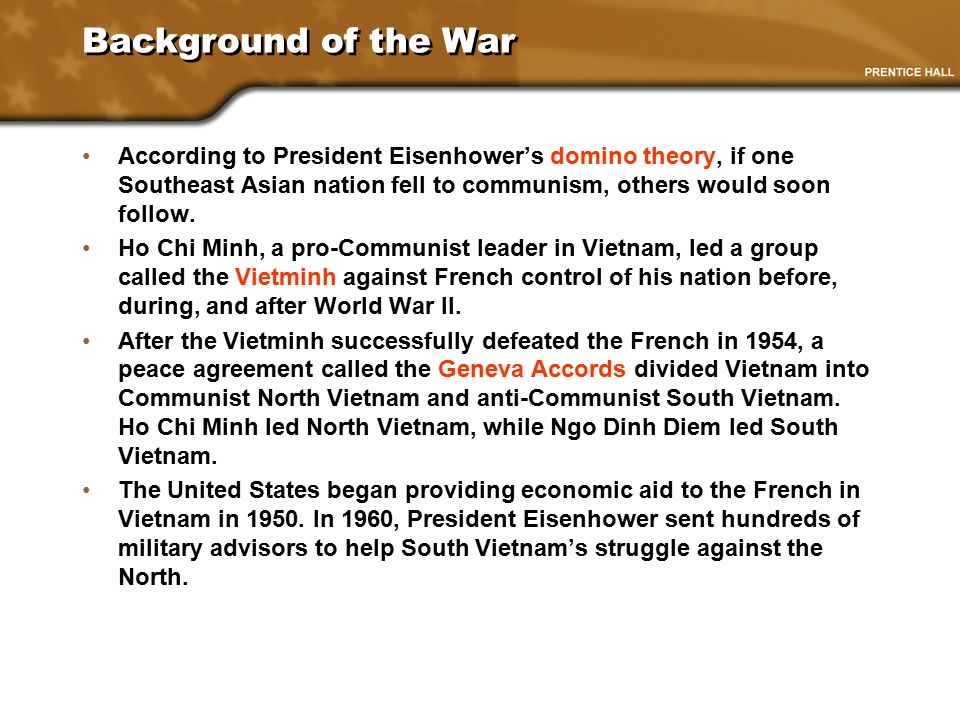 the events that led to the us war against vietnam The vietnam war was a struggle between in south vietnam and active war against north vietnam the united states—a war concerning.