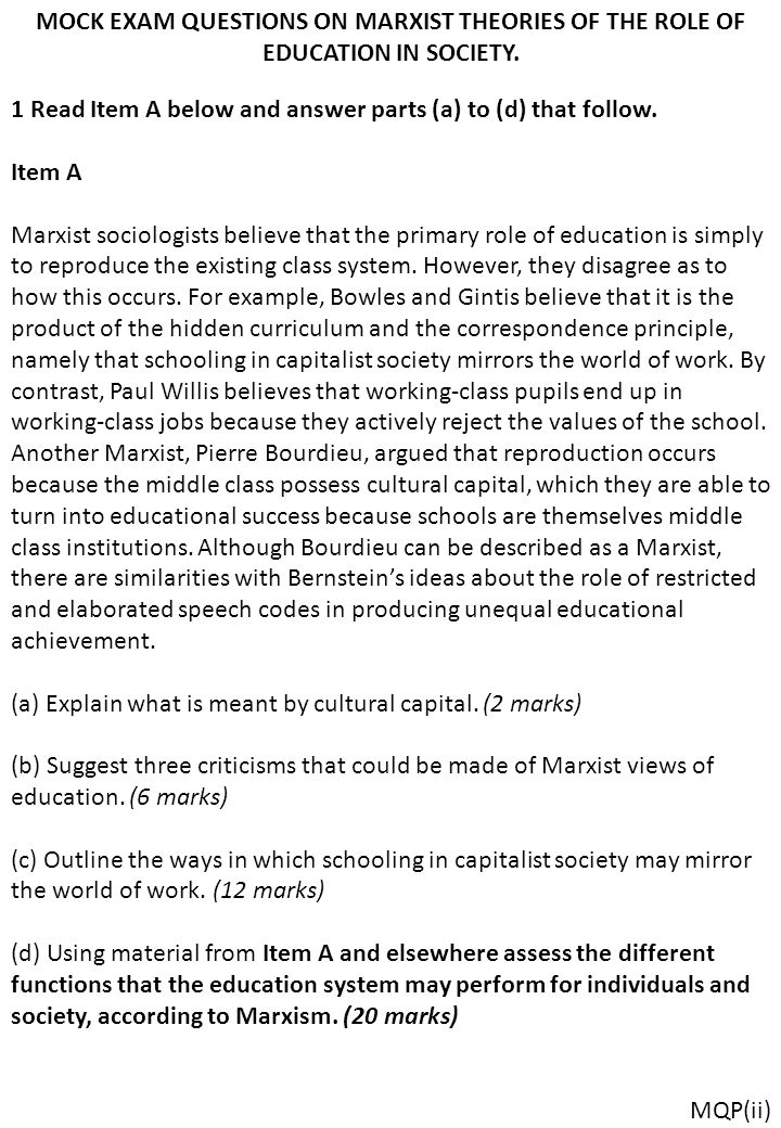 examine marxist views on the role As level: functionalist vs marxist  functionalism and marxism also have opposing views on social stratification to functionalists, .