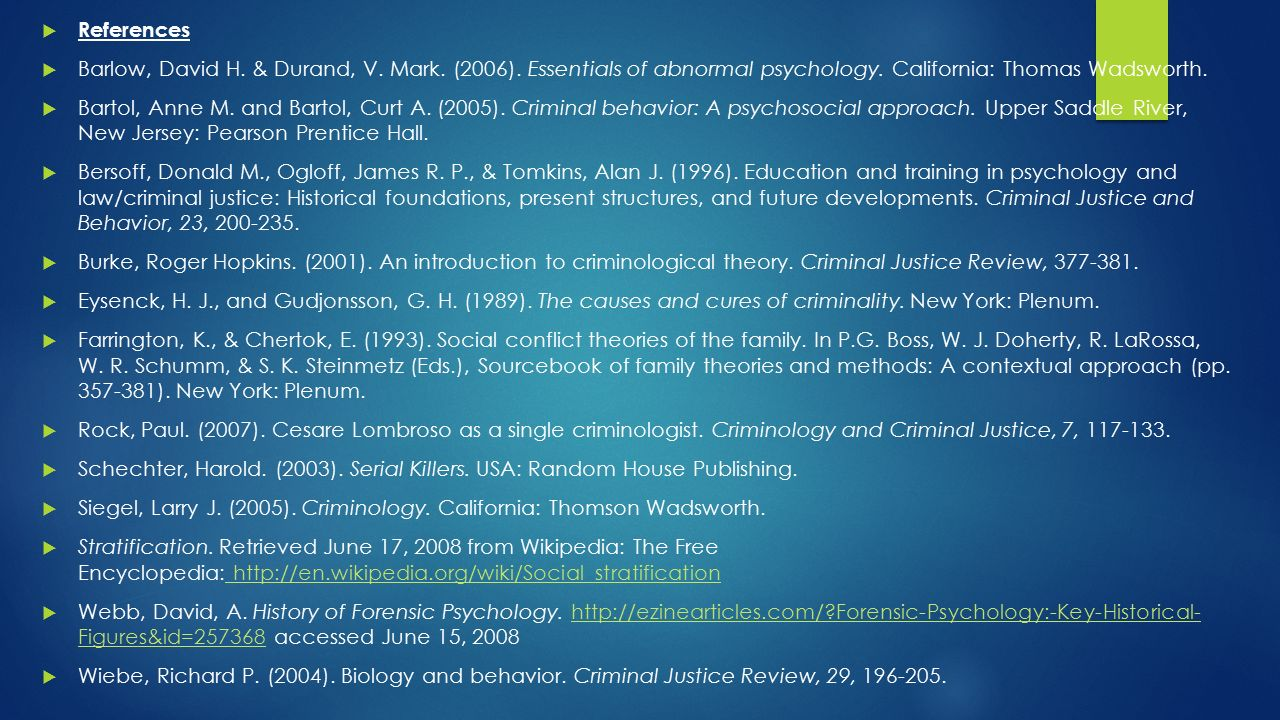 psychological theories for criminal behaviour Psychological theories have tried to explain why and how the crime occurs the psychoanalytic point of view, two main theories: freuds theory of s.
