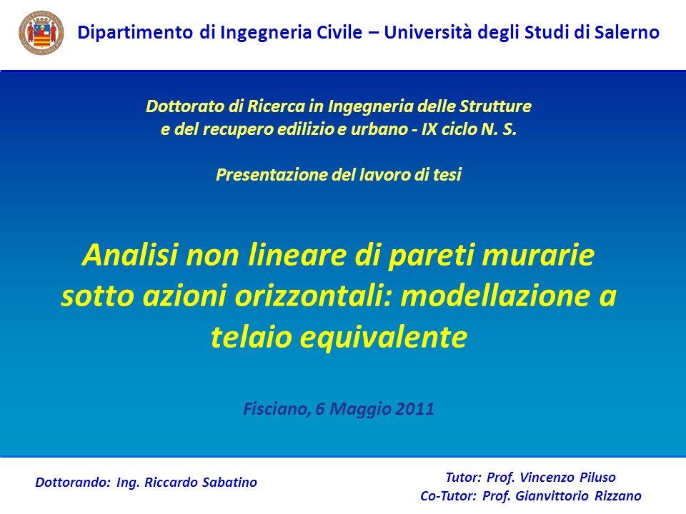 Dipartimento di Ingegneria Civile – Università degli Studi di Salerno