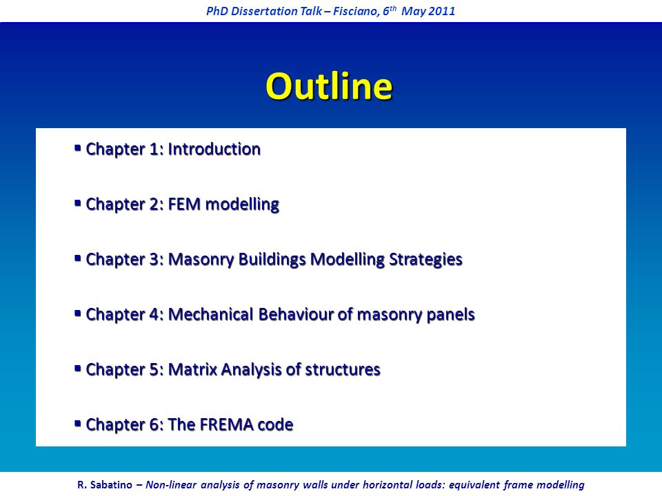 PhD Dissertation Talk – Fisciano, 6th May 2011