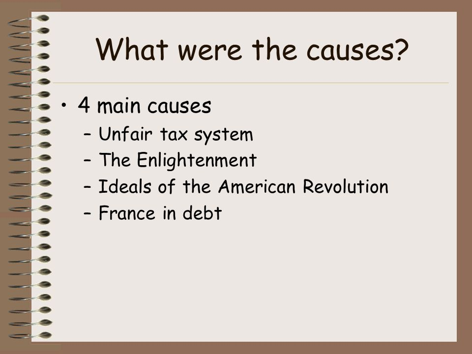 four causes of the french revolution French revolution this short chapter brings together the themes developed in  chapters 2–4 and gives the opportunity to discuss the causes of the revolution.
