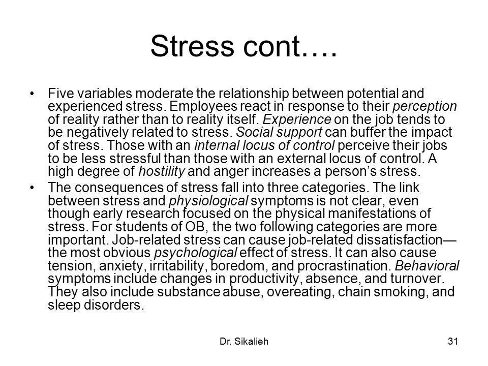 Relationship between stress and physical illness