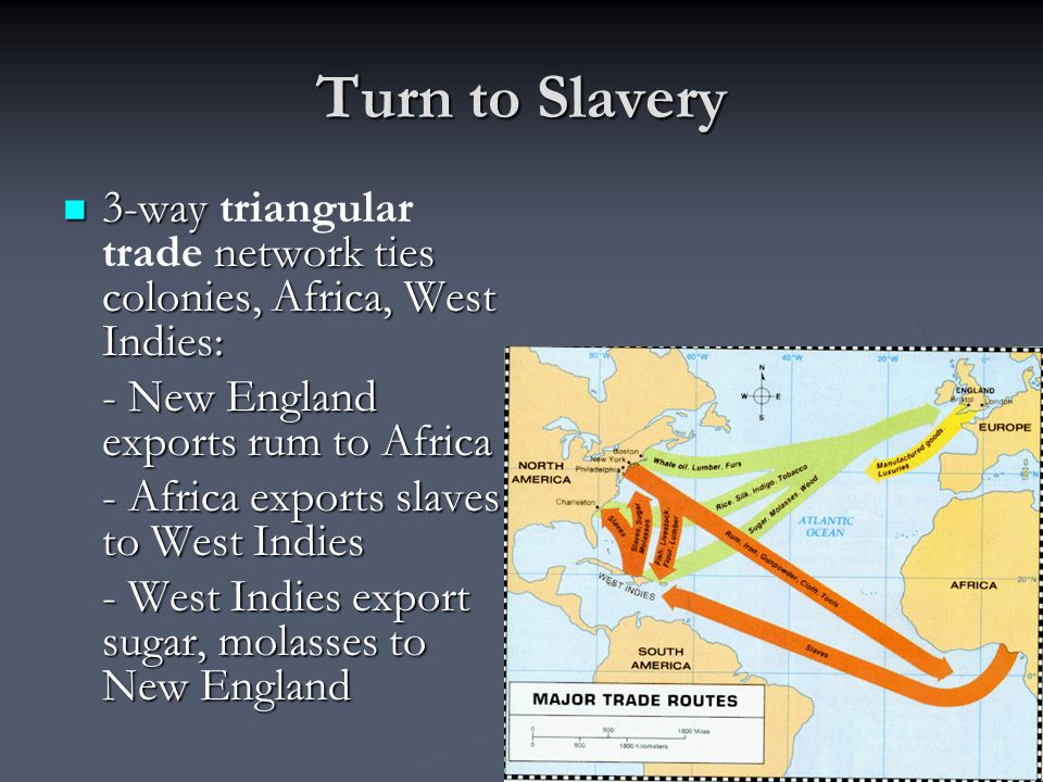 Turn to Slavery 3-way triangular trade network ties colonies, Africa, West Indies: - New England exports rum to Africa.