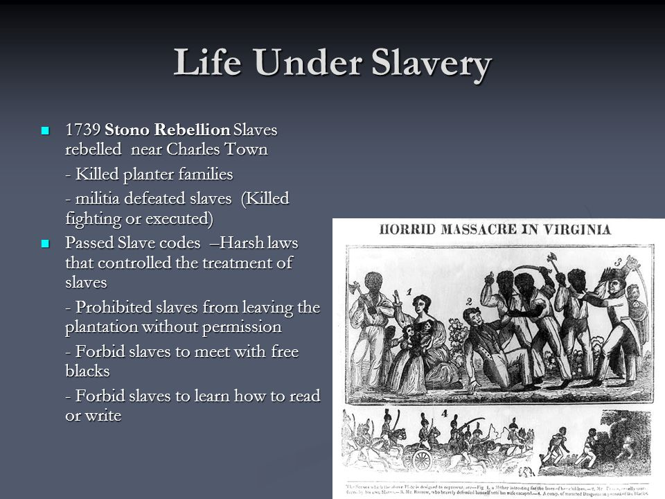 Life Under Slavery 1739 Stono Rebellion Slaves rebelled near Charles Town. - Killed planter families.