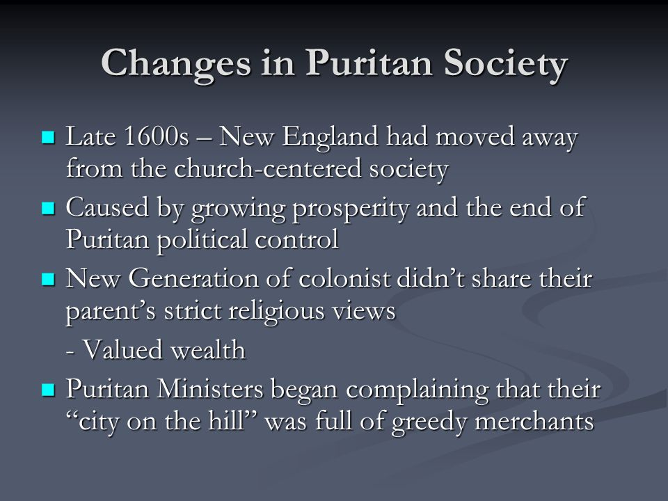 Changes in Puritan Society