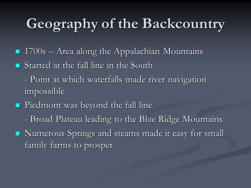 Geography of the Backcountry