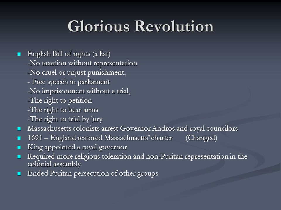 Glorious Revolution English Bill of rights (a list)