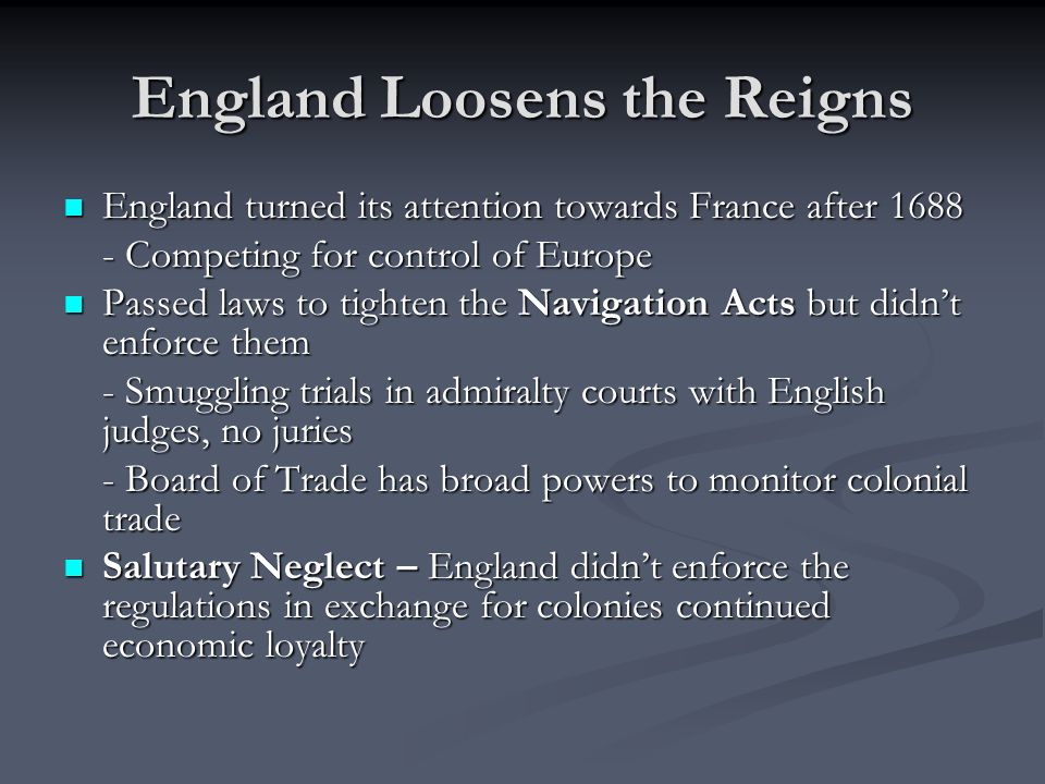 England Loosens the Reigns