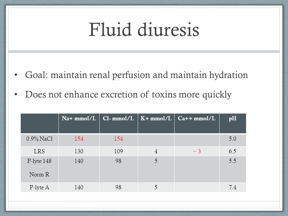 Fluid diuresis Goal: maintain renal perfusion and maintain hydration