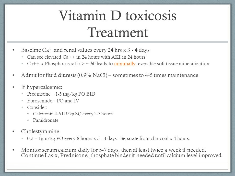 Vitamin D toxicosis Treatment