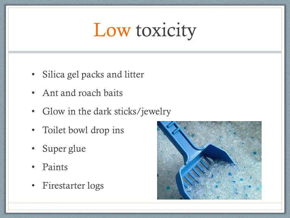 Low toxicity Silica gel packs and litter Ant and roach baits