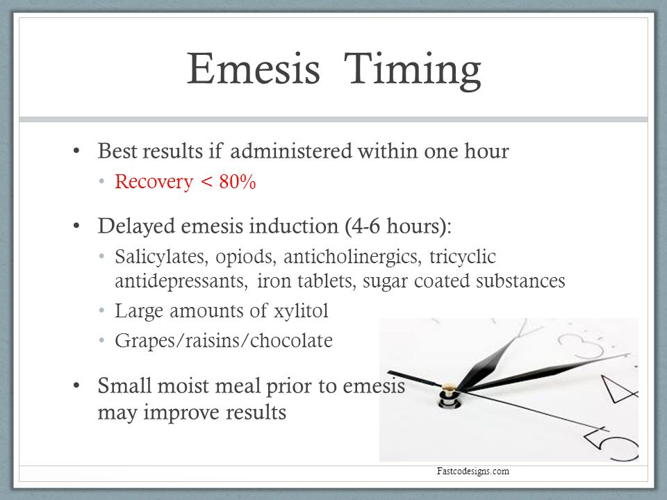 Emesis Timing Best results if administered within one hour