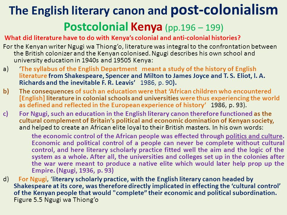 exploring the post colonial literary canon Post-colonial literature can be considered as a body of literary writings that reacts to the discourse of colonization post - colonial writers focus on issues such as de-colonization and the political and cultural independence of people formerly subjugated to colonial rule.