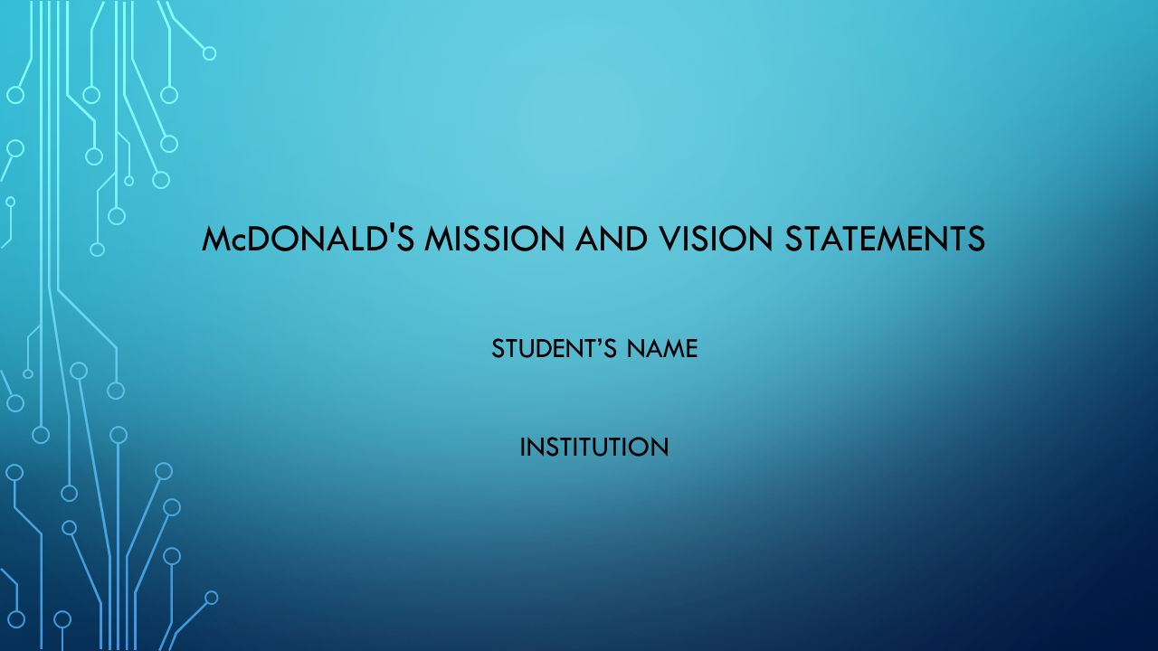 mcdonald's mission and vision statements student's name institution
