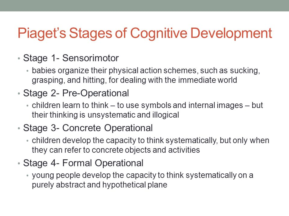 pre operational stage of piagets cognitive development The process of cognitive development was first described by jean piaget, in his   four distinct stages of cognitive development (sensorimotor, preoperational,.