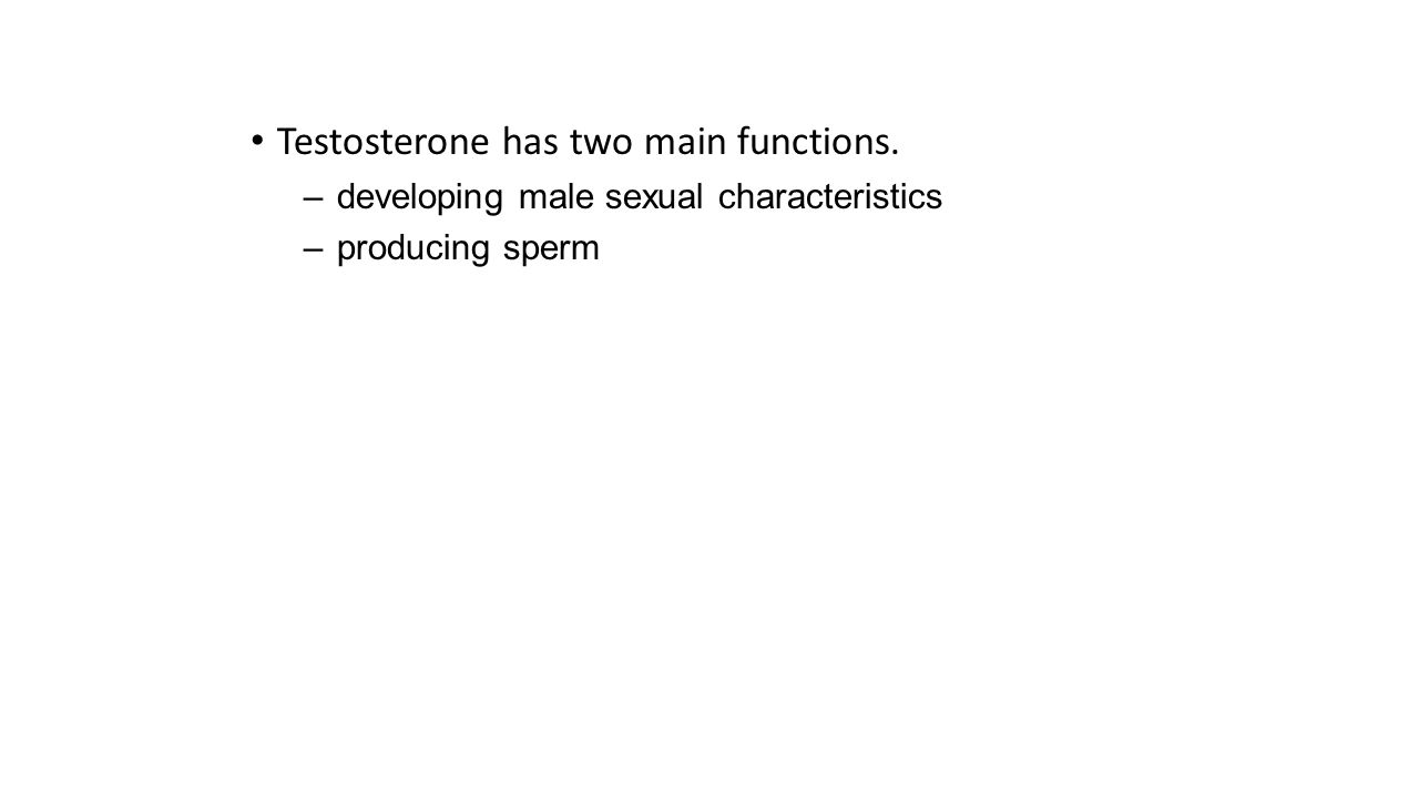 Testosterone has two main functions.