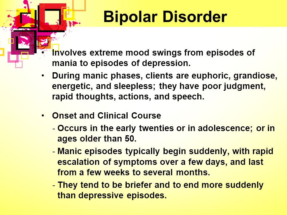 bipolar disorder that involves episodes of mania and depression The classic form of the illness, which involves recurrent episodes of mania and  depression, is called bipolar i disorder some people, however, never de.