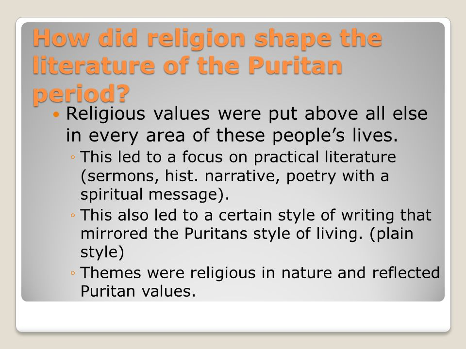 Essay/Term paper: Writing styles in the puritan time period