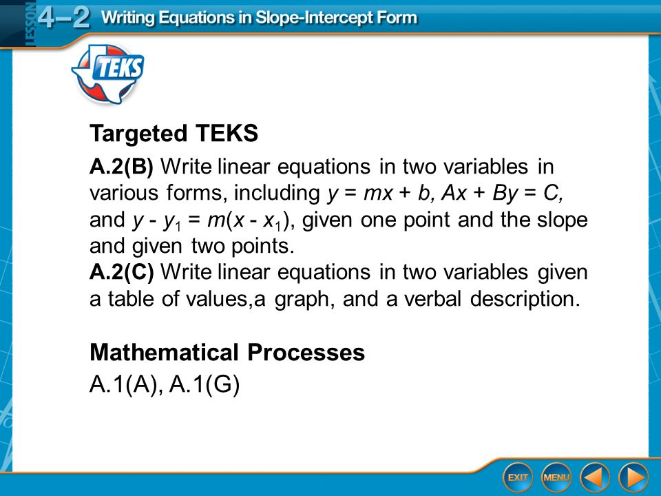Writing Equations in Slope-Intercept Form - ppt download