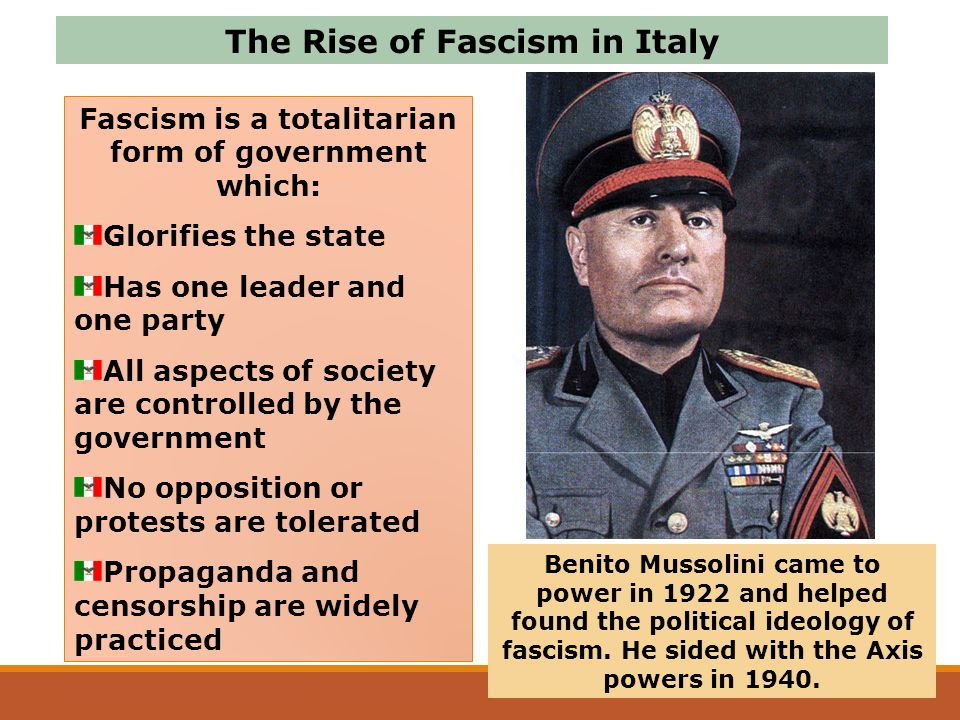 a history of the rise and fall of benito mussolini an italian fascist leader Benito mussolini, italy's dictator from 1922 to 1943, is perhaps  but he  originated an economic system – economic fascism – that was.