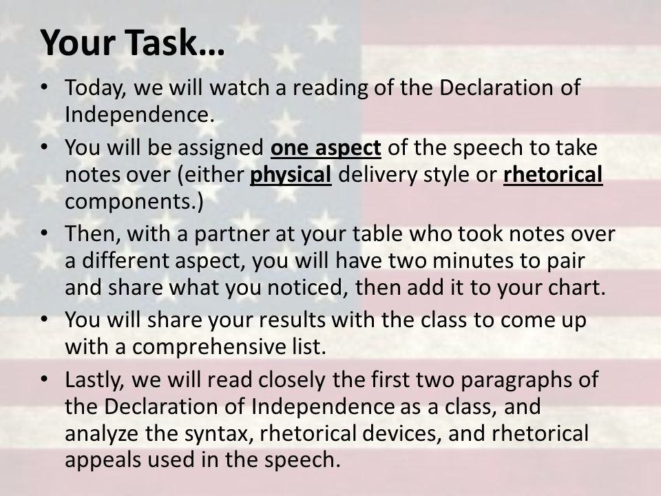 rhetorical analysis of the declaration of independence Anaphora is used a lot in the declaration of independence rhetorical strategies to the declaration of independence using rhetorical devices: declaration of.