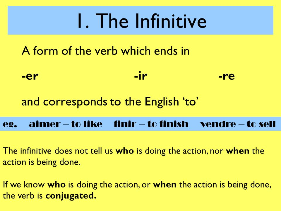 1. The Infinitive A form of the verb which ends in -er -ir -re ...