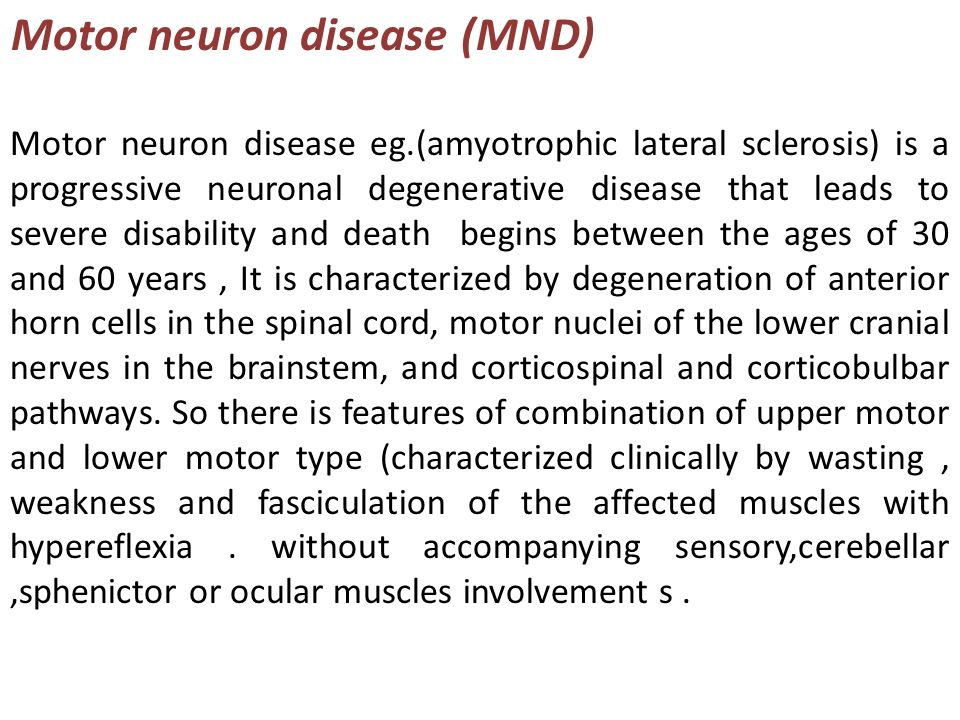 Amyotrophic lateral sclerosis ppt video online download for What causes motor neuron disease mnd