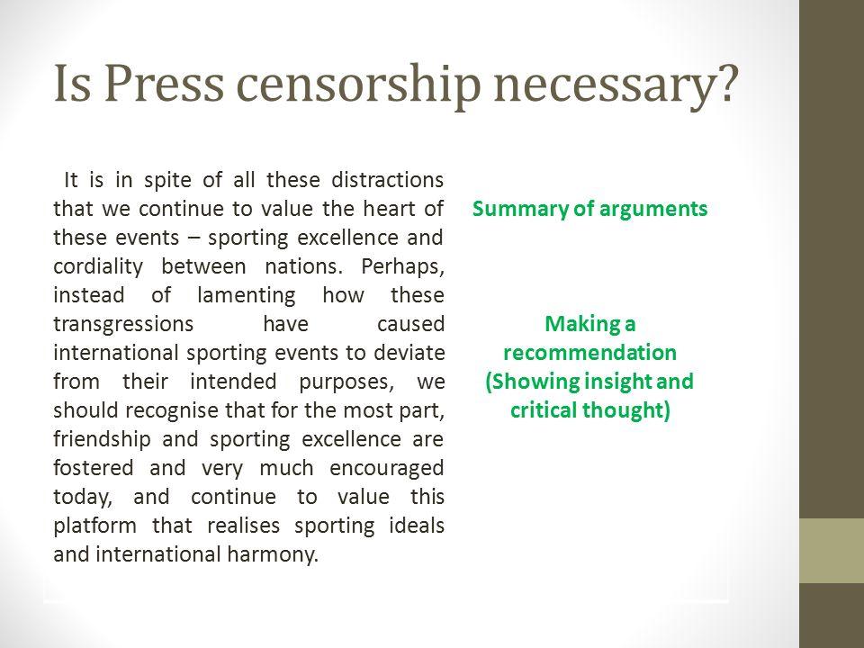 censorship is necessary essay