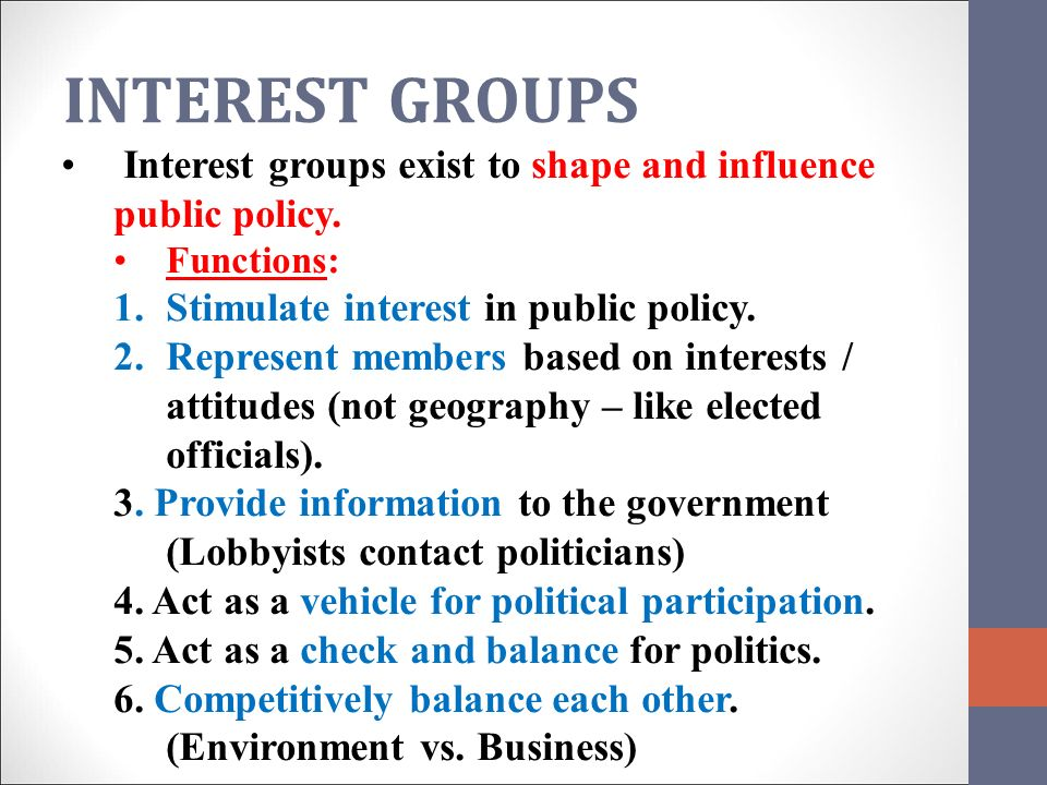 Groups, Interests, and U.S. Public Policy