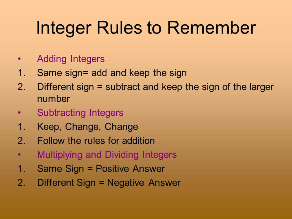 Integer Rules to Remember