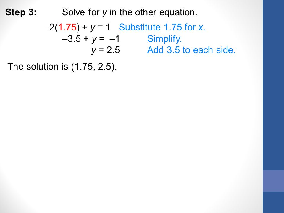 Step 3: Solve for y in the other equation.