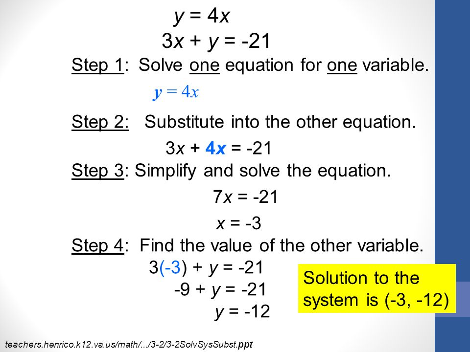 y = 4x 3x + y = -21 Step 1: Solve one equation for one variable.