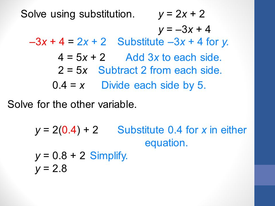 Solve using substitution. y = 2x + 2