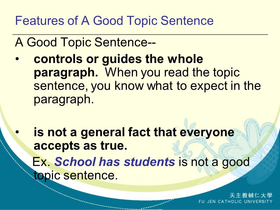 the topic sentence supporting concluding sentences ppt video features of a good topic sentence