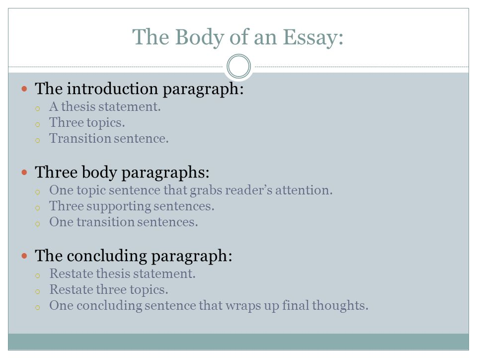 what are the paragraphs that make up the body of an essay In this simple pattern for an argumentative essay, you discuss two pro points and one con point.