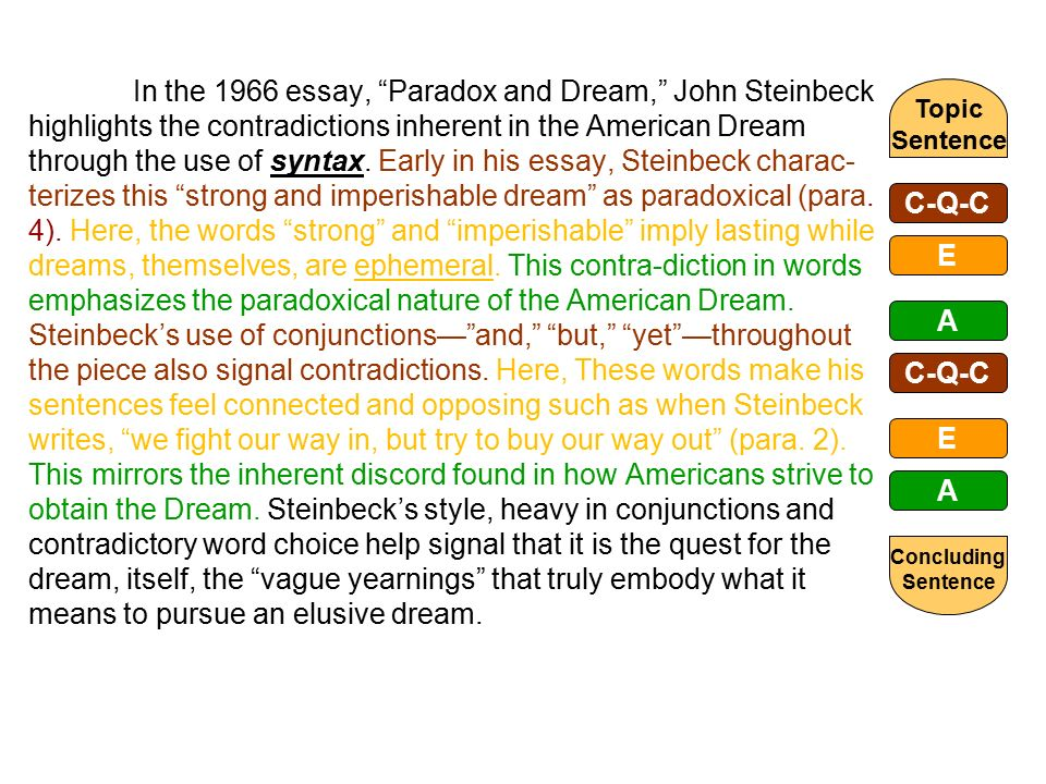 the literary rhetorical analysis paragraph ppt video online  in the 1966 essay paradox and dream john steinbeck highlights the contradictions inherent in