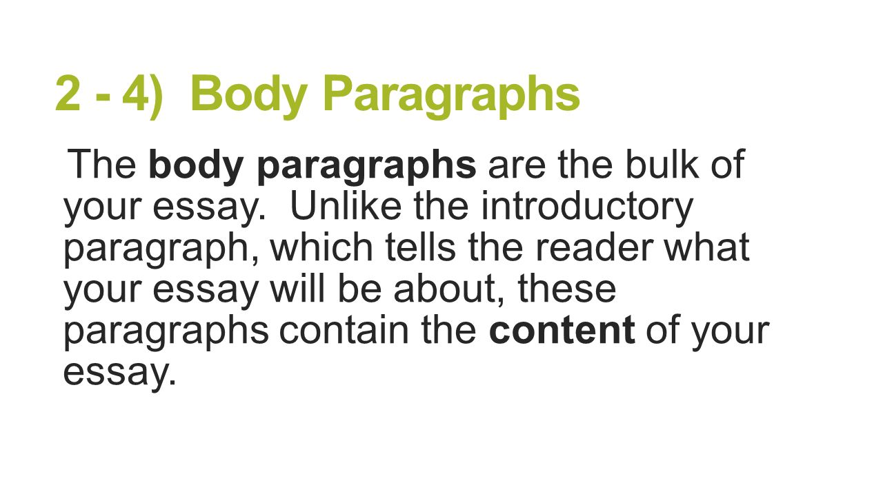 5 paragraph essay body paragraph The basic five-paragraph essay structure  each of the body paragraphs should take one of your reasons and explain it in more detail.